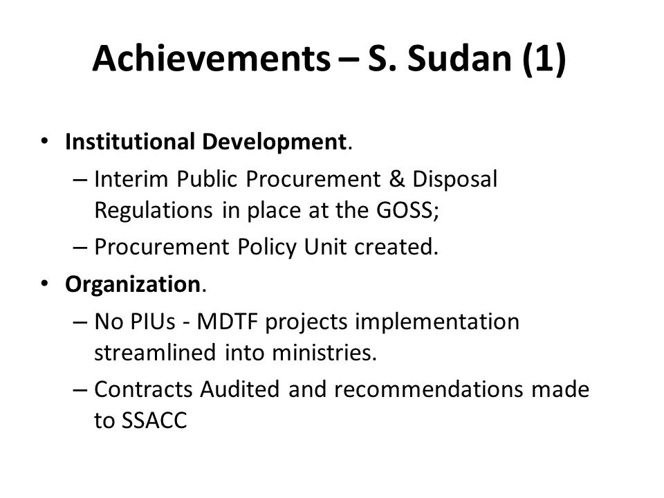 Achievements – S. Sudan (1)