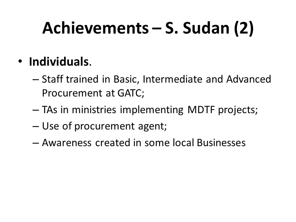 Achievements – S. Sudan (2)
