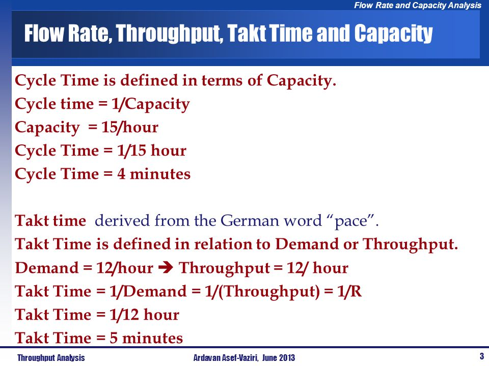 Flow Rate, Throughput, Takt Time and Capacity