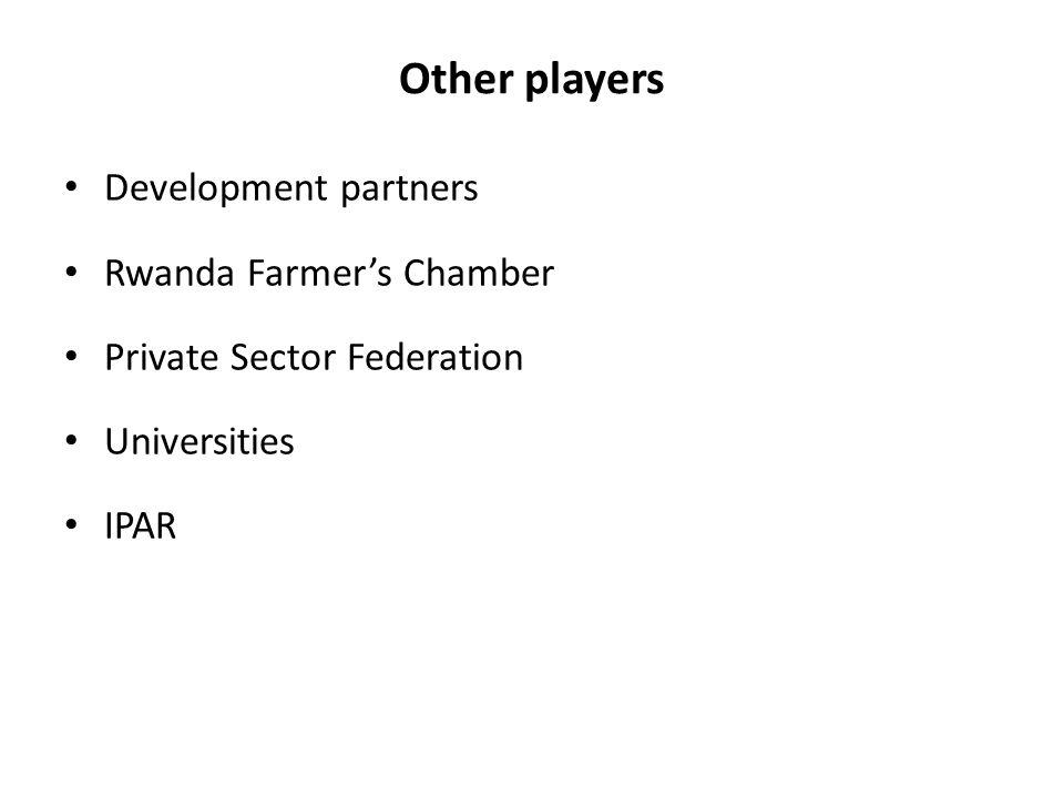 Other players Development partners Rwanda Farmer's Chamber