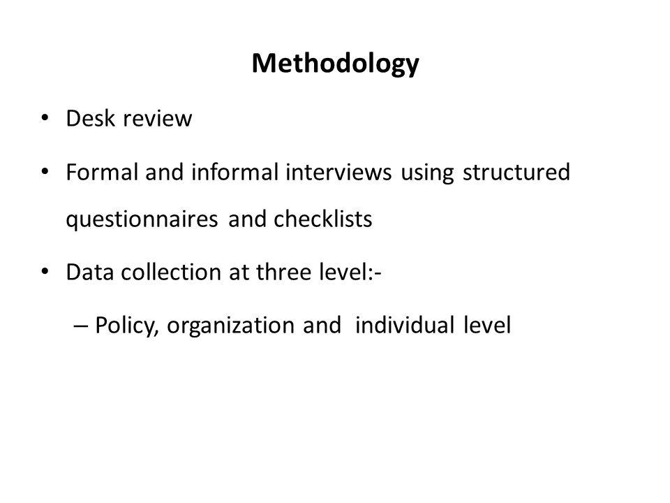 Methodology Desk review