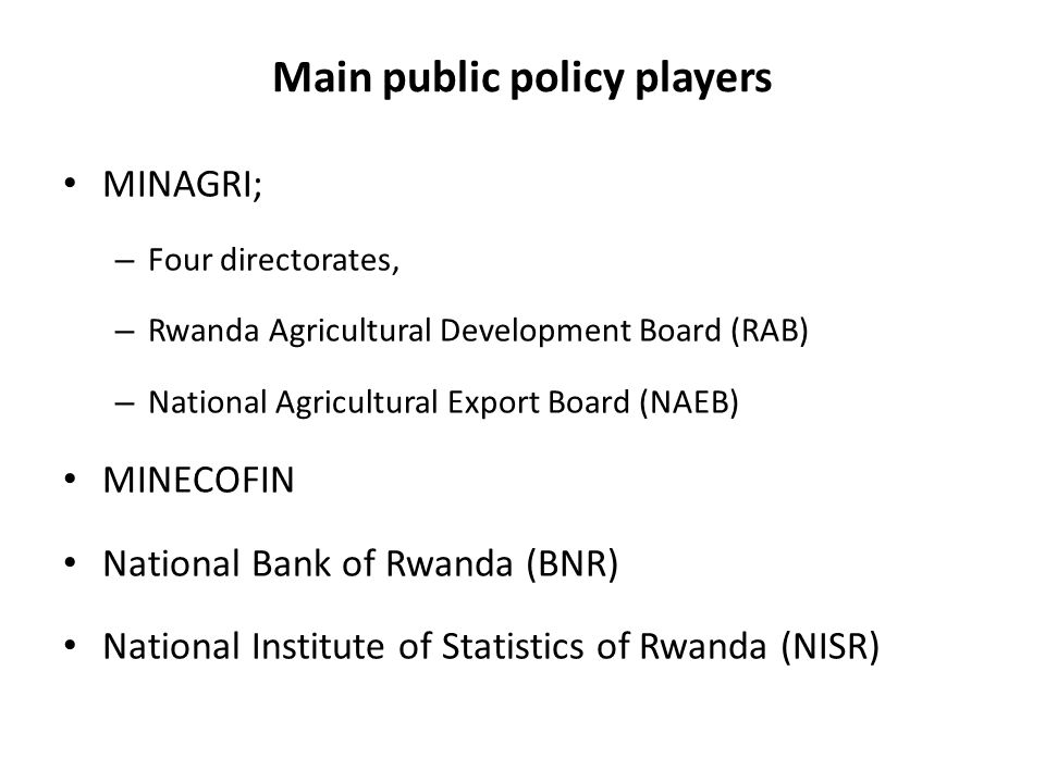 Main public policy players