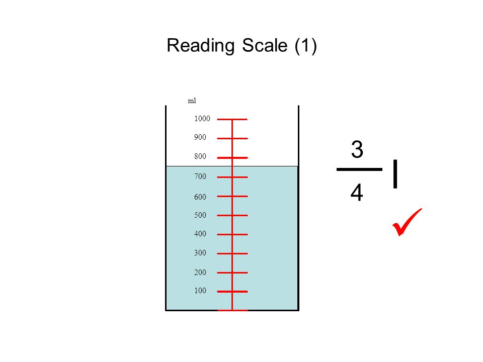 Reading Scale (1) 100 200 300 400 500 600 700 800 900 1000 ml 3 4 l 