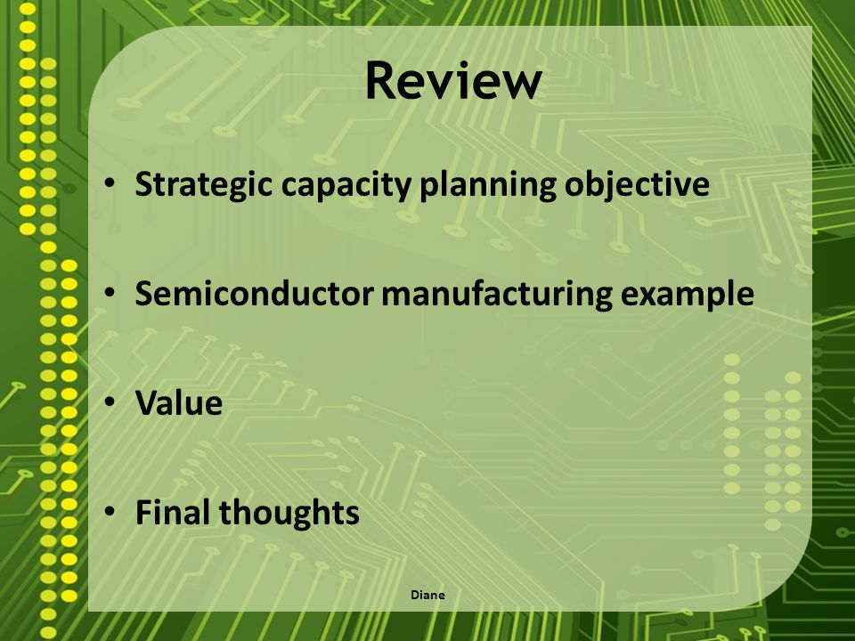 Review Strategic capacity planning objective