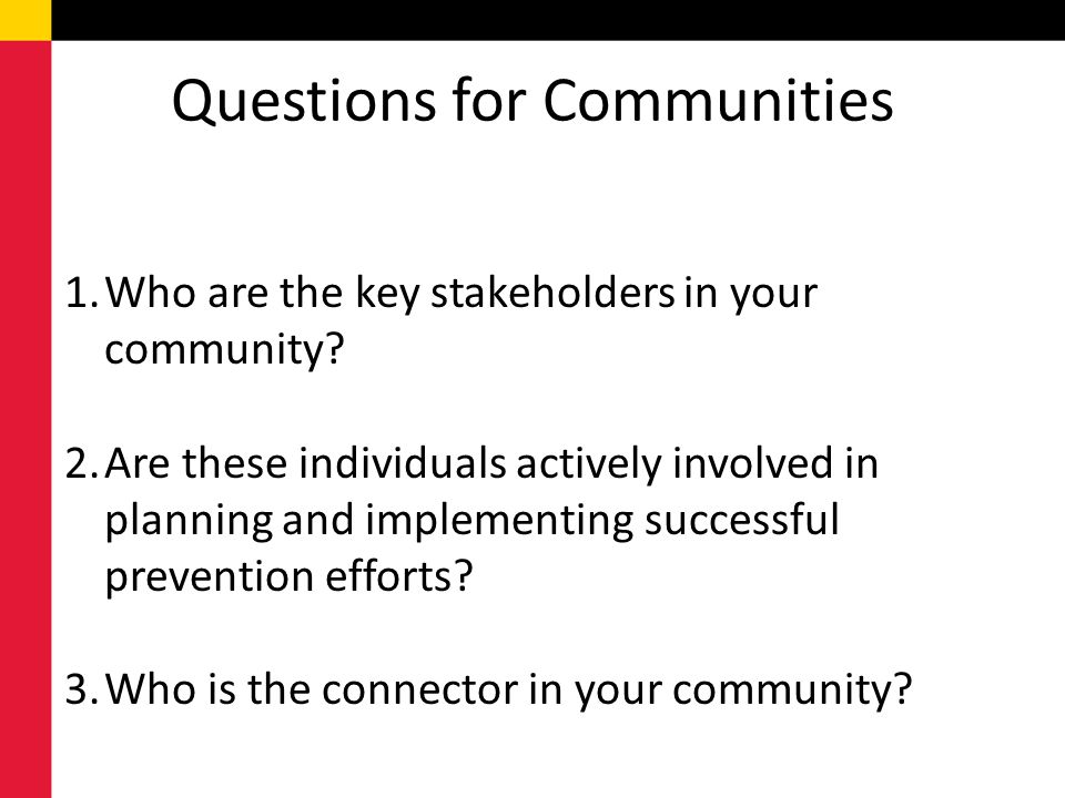 Questions for Communities