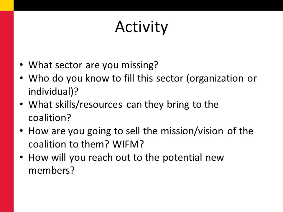 Activity What sector are you missing
