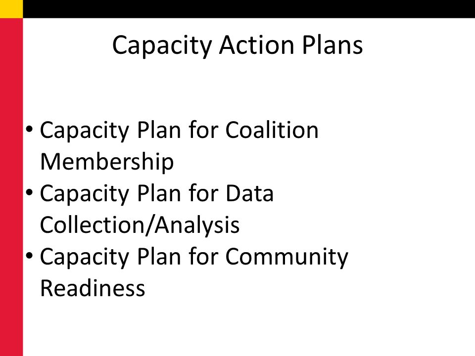 Capacity Action Plans Capacity Plan for Coalition Membership