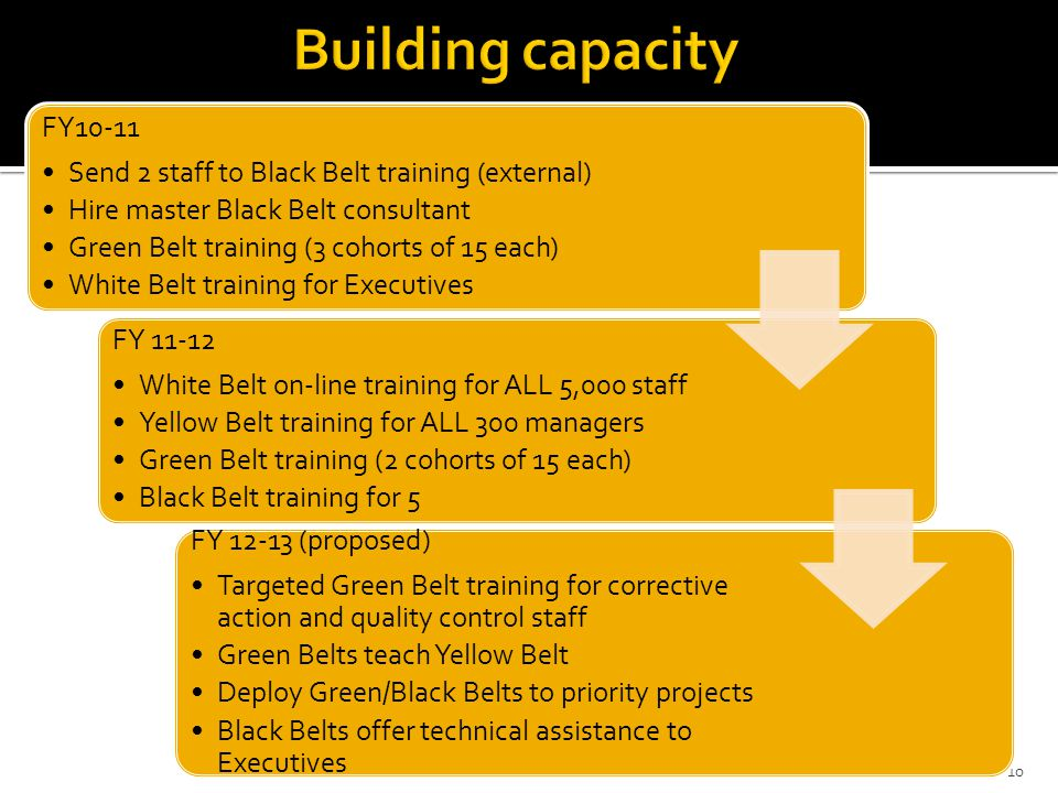 Building capacity FY10-11. Send 2 staff to Black Belt training (external) Hire master Black Belt consultant.