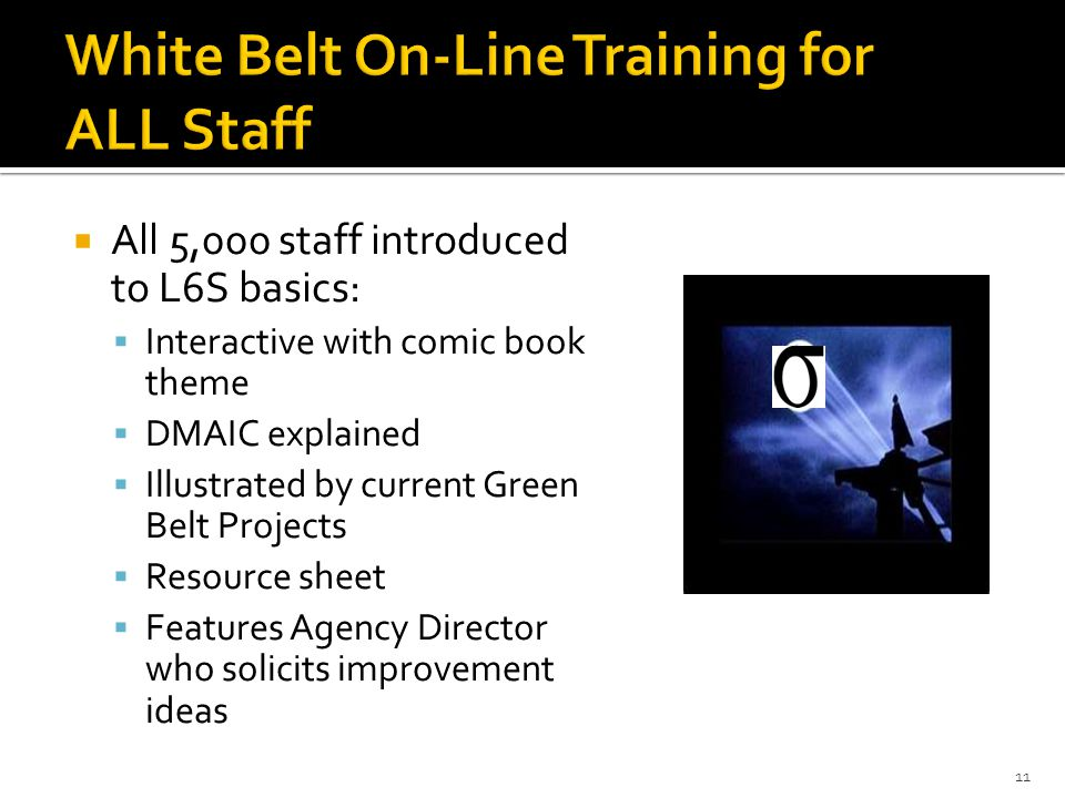 White Belt On-Line Training for ALL Staff