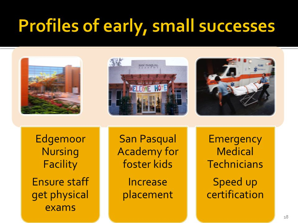 Profiles of early, small successes
