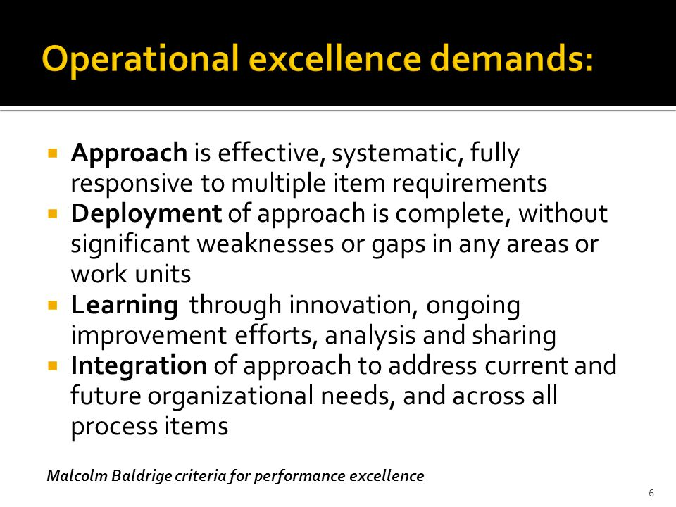 Operational excellence demands: