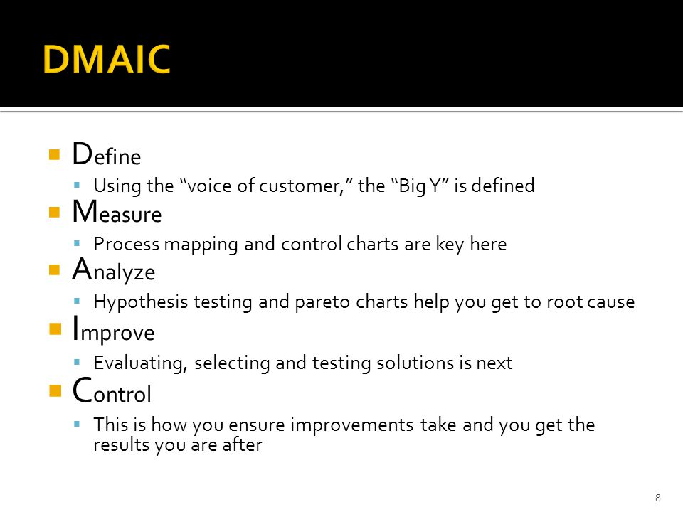 DMAIC Improve Control Define Measure Analyze
