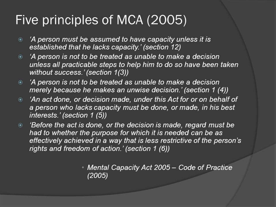 Five principles of MCA (2005)