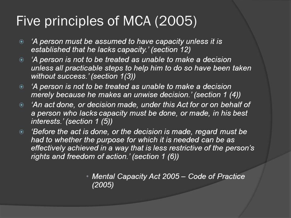 Five principles of MCA (2005)