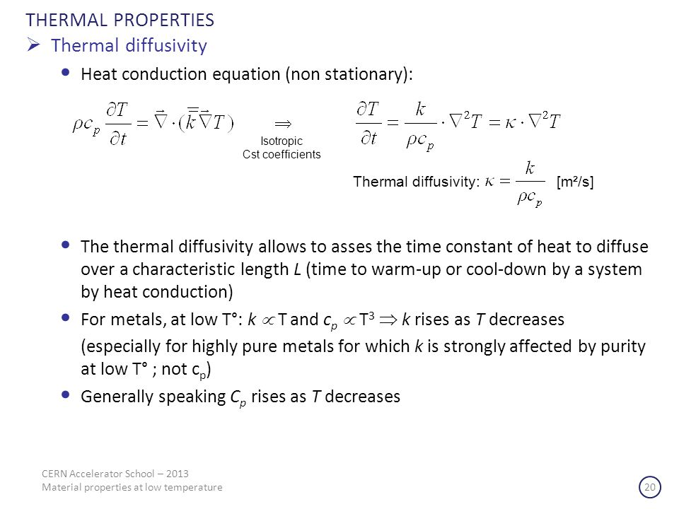 THERMAL PROPERTIES Thermal diffusivity