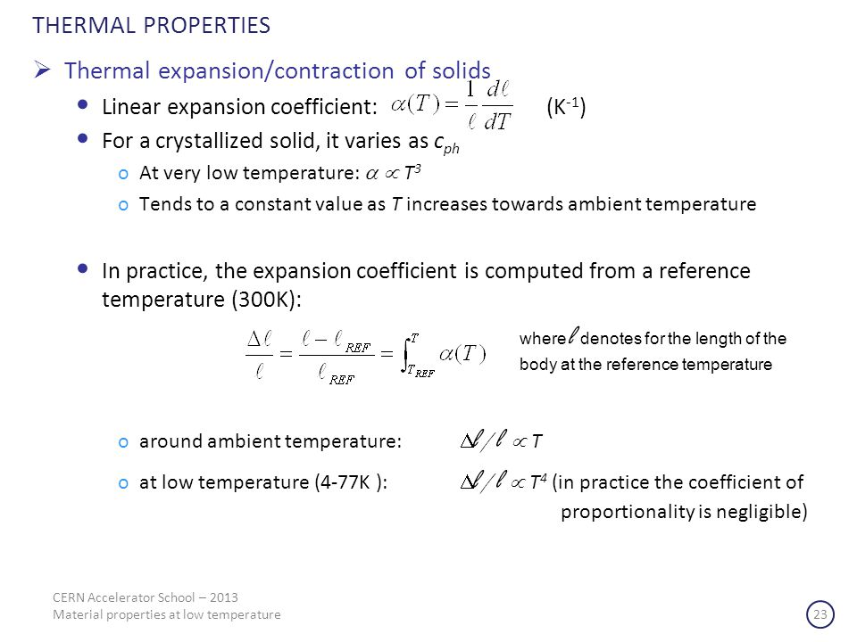 Thermal expansion/contraction of solids