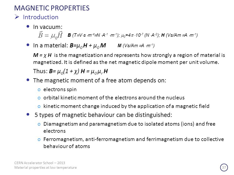 MAGNETIC PROPERTIES Introduction In vacuum: