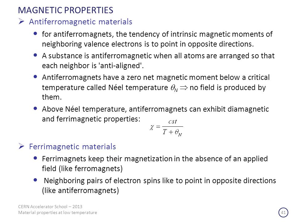 MAGNETIC PROPERTIES Antiferromagnetic materials
