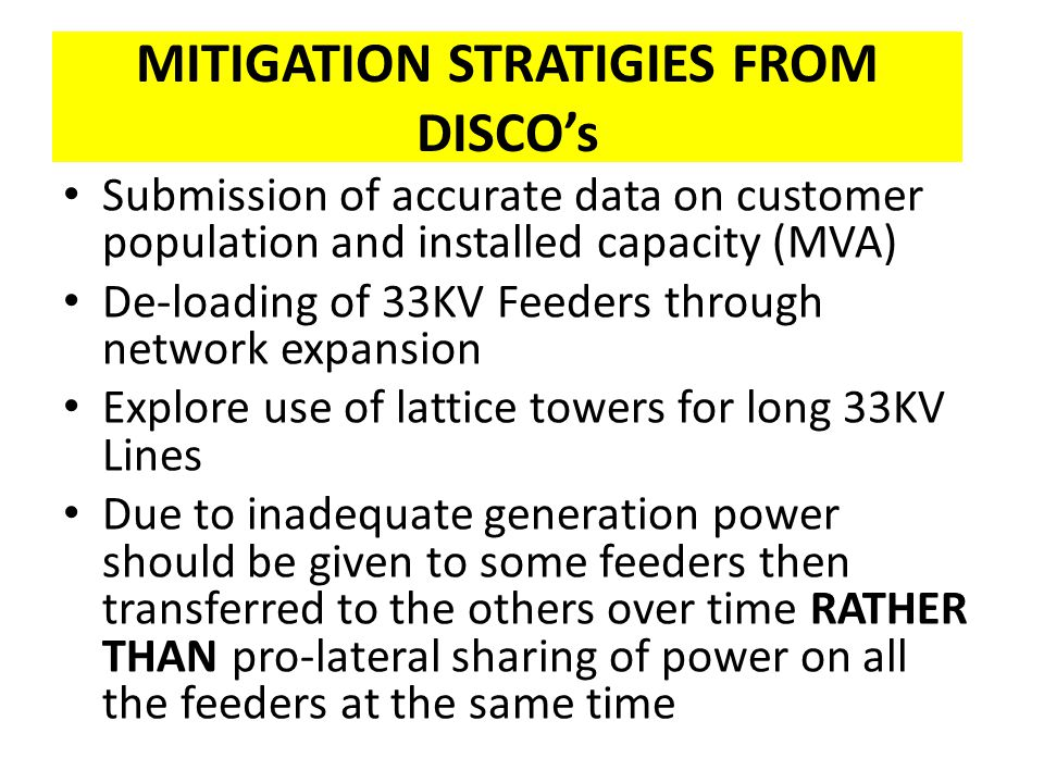 MITIGATION STRATIGIES FROM DISCO's