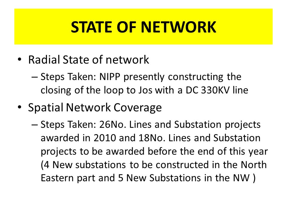 STATE OF NETWORK Radial State of network Spatial Network Coverage