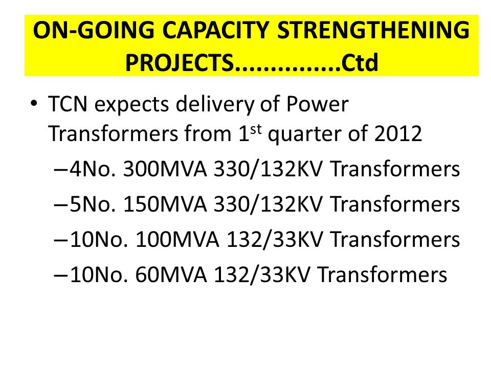 ON-GOING CAPACITY STRENGTHENING PROJECTS...............Ctd