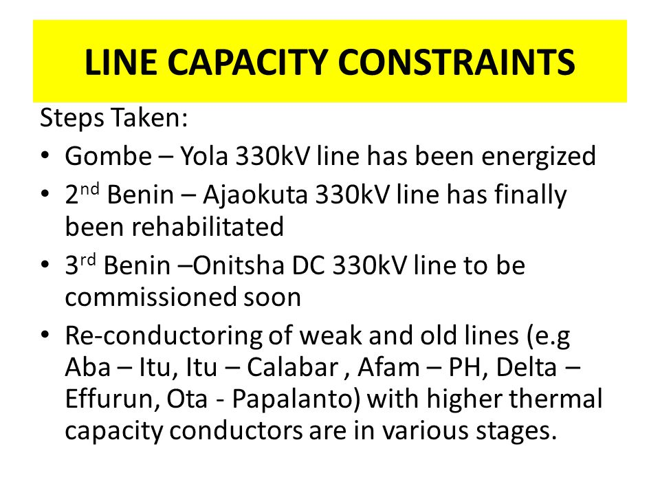 LINE CAPACITY CONSTRAINTS