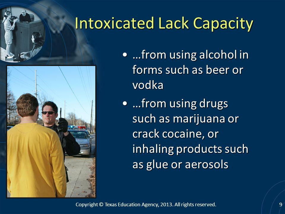 Intoxicated Lack Capacity
