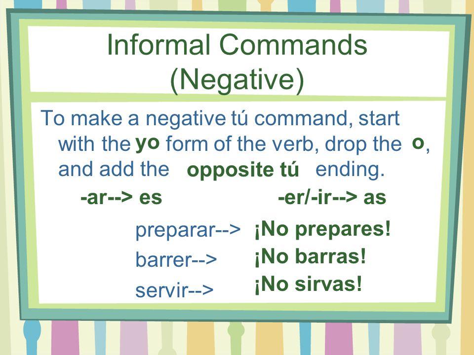 Informal Commands (Negative)