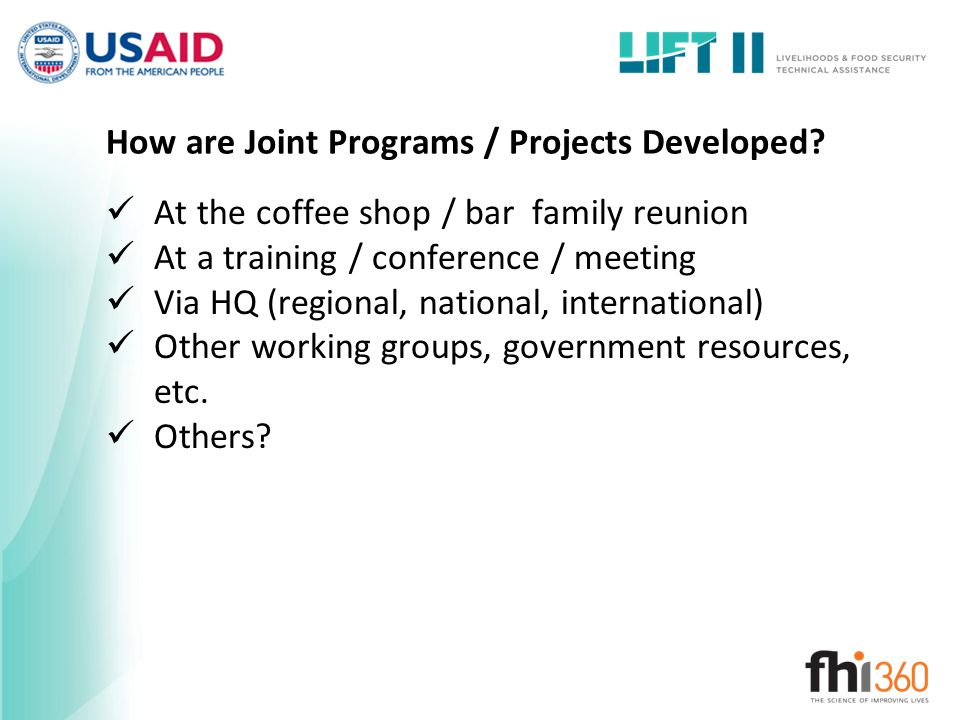 How are Joint Programs / Projects Developed