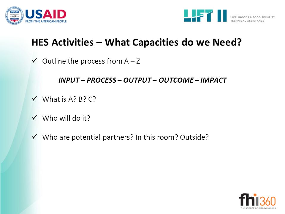 HES Activities – What Capacities do we Need