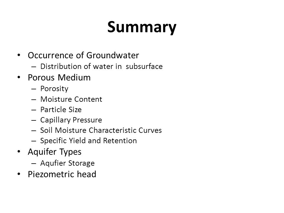 Summary Occurrence of Groundwater Porous Medium Aquifer Types