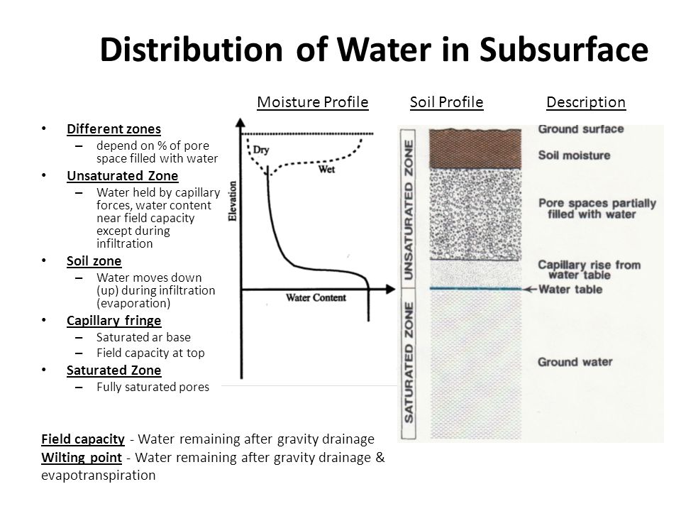 Distribution of Water in Subsurface