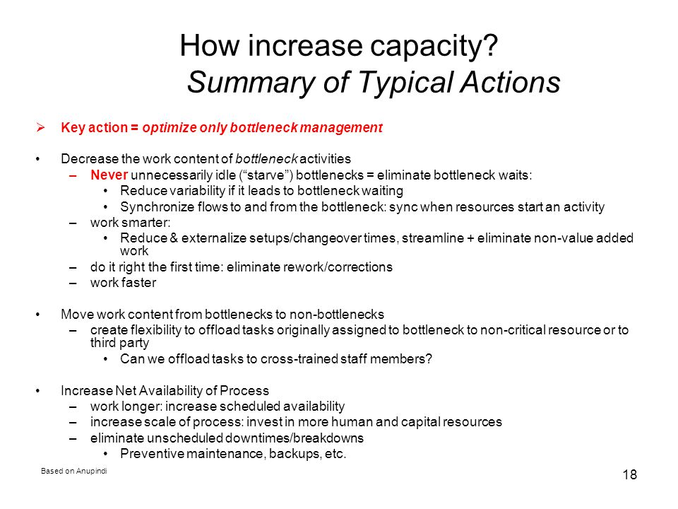 How increase capacity Summary of Typical Actions