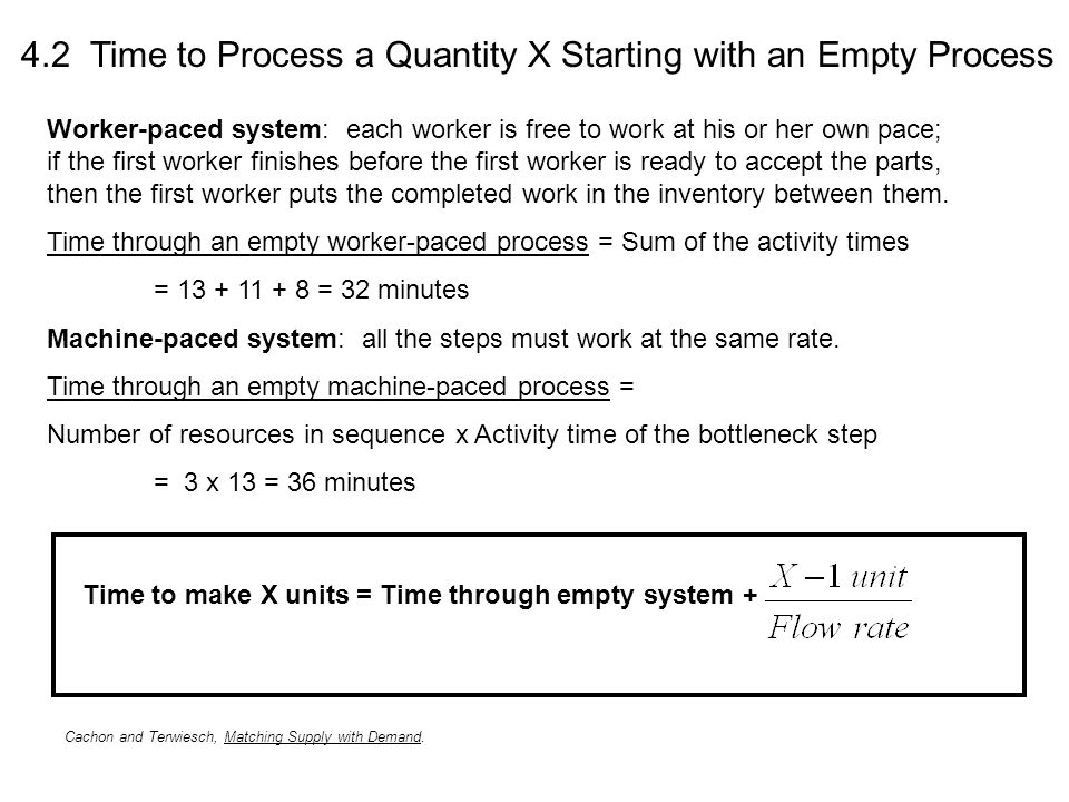 4.2 Time to Process a Quantity X Starting with an Empty Process