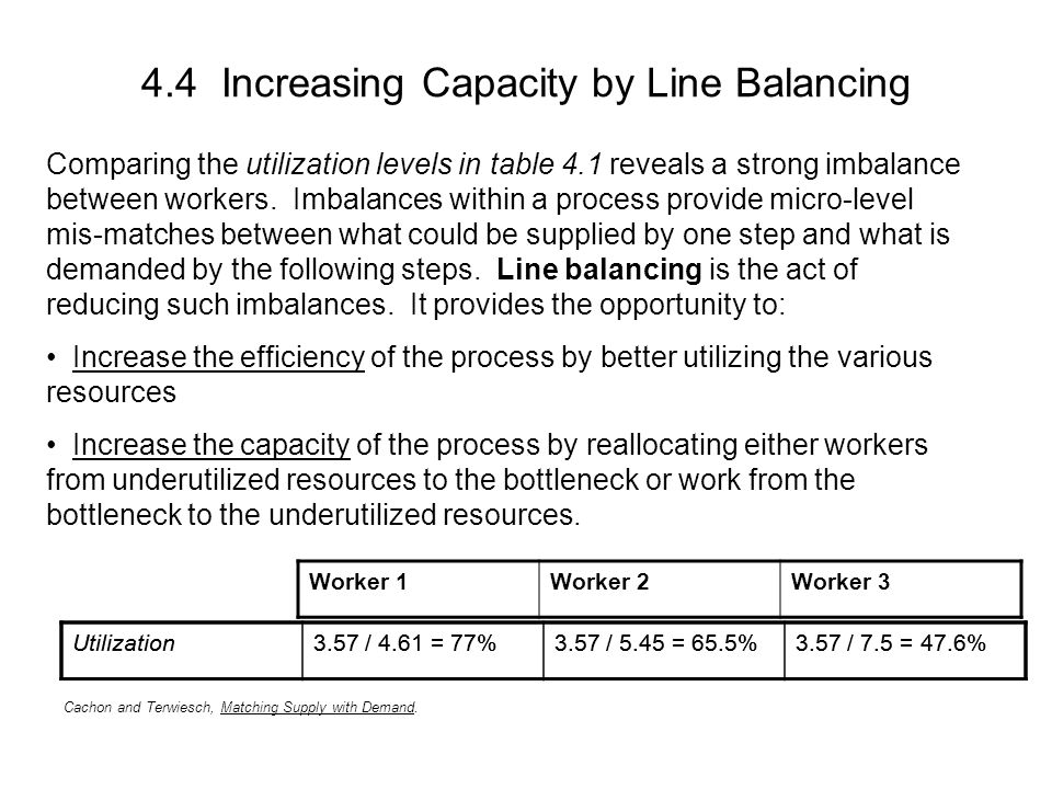 4.4 Increasing Capacity by Line Balancing