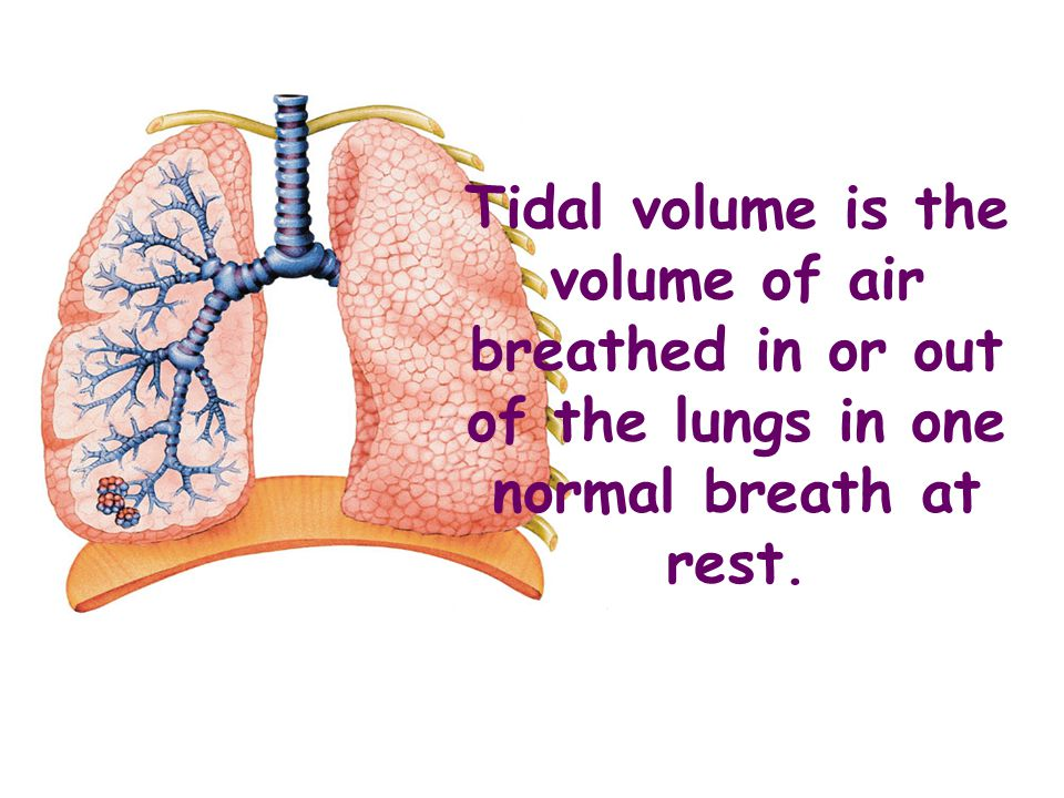 Tidal volume is the volume of air breathed in or out of the lungs in one normal breath at rest.
