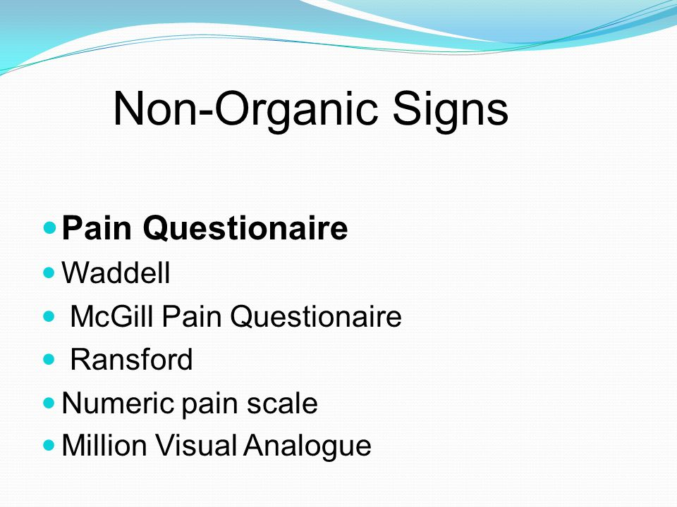Non-Organic Signs Pain Questionaire Waddell McGill Pain Questionaire