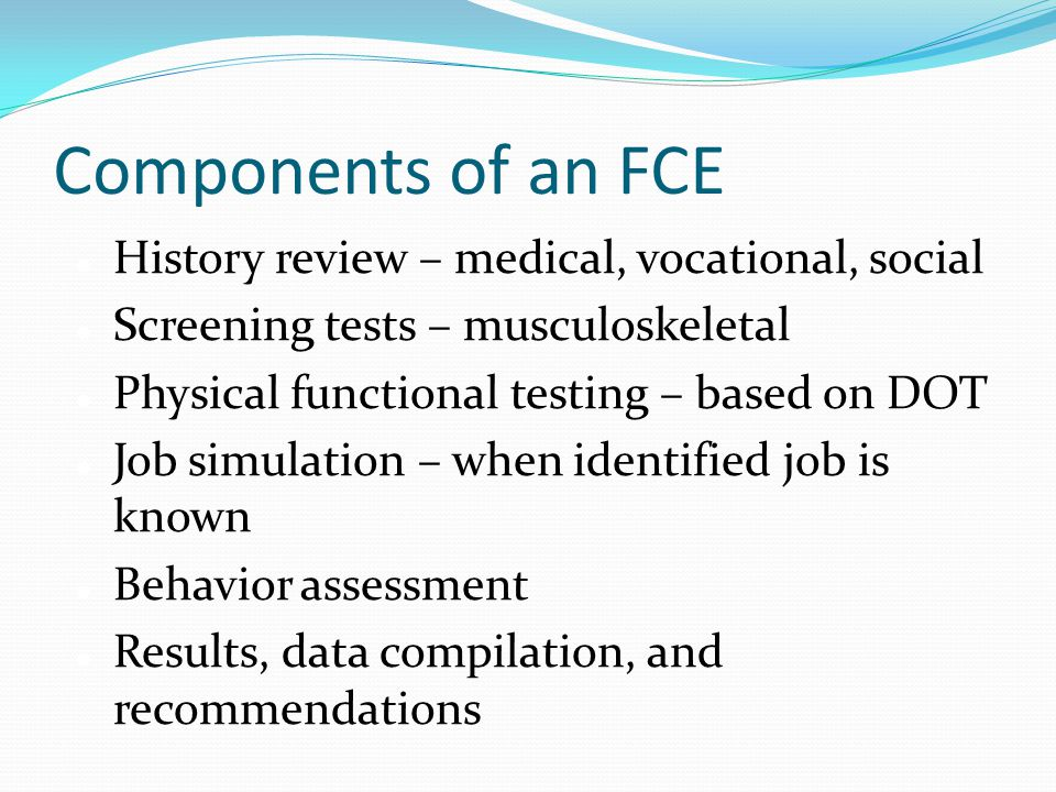 Components of an FCE History review – medical, vocational, social