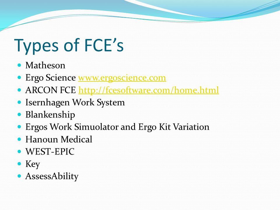 Types of FCE's Matheson Ergo Science www.ergoscience.com