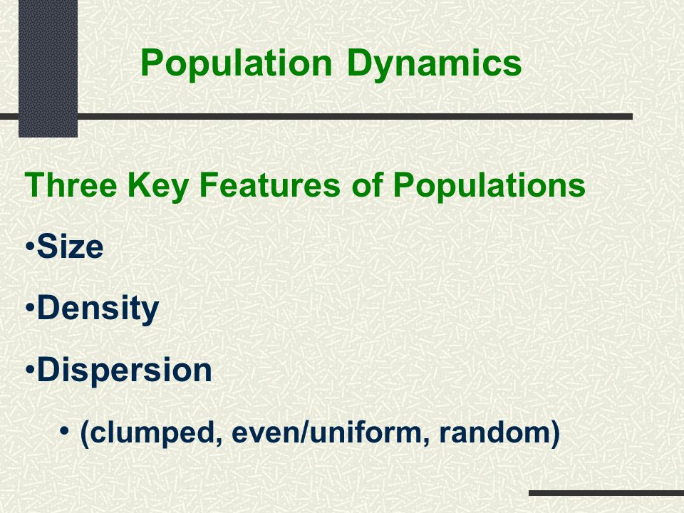 Population Dynamics Three Key Features of Populations Size Density