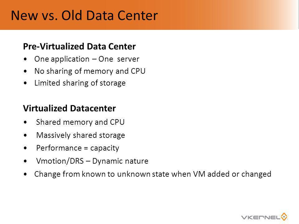 New vs. Old Data Center Pre-Virtualized Data Center