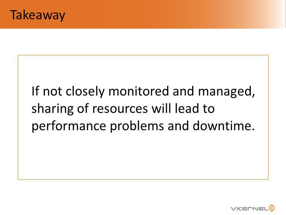 Takeaway If not closely monitored and managed, sharing of resources will lead to performance problems and downtime.