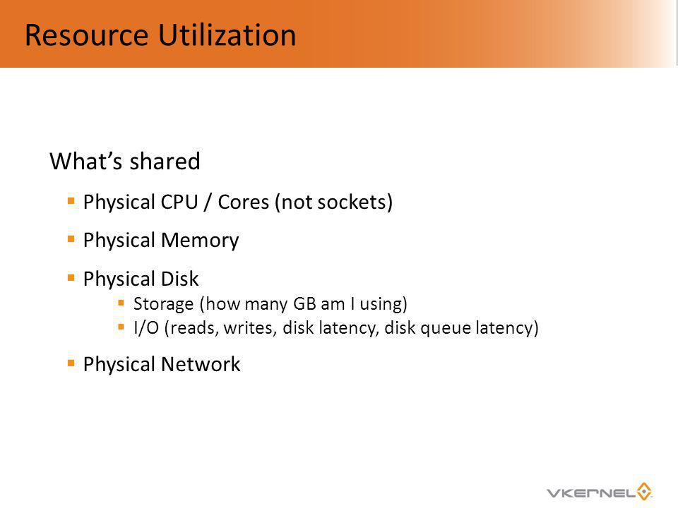 Resource Utilization What's shared Physical CPU / Cores (not sockets)