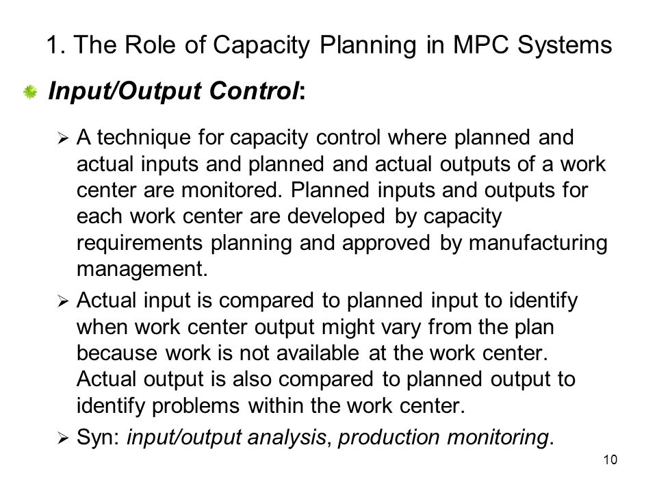 1. The Role of Capacity Planning in MPC Systems
