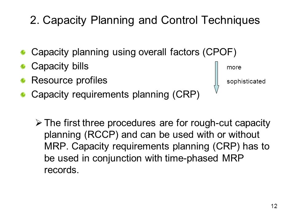 2. Capacity Planning and Control Techniques