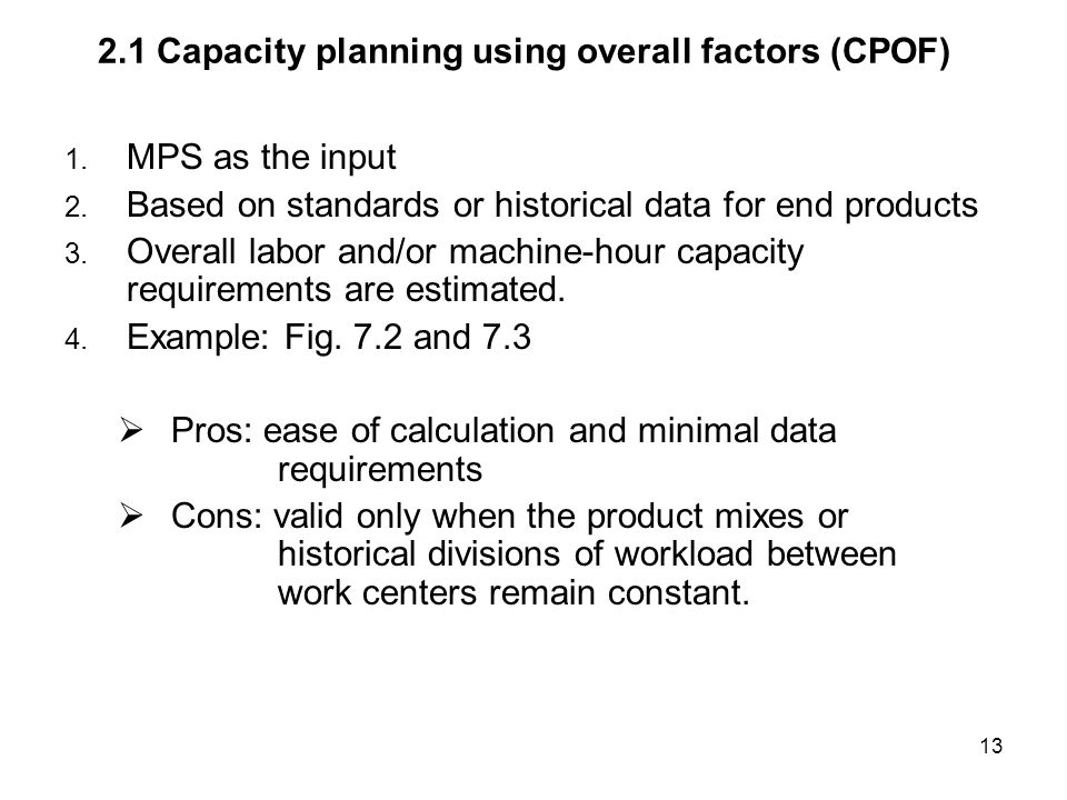 2.1 Capacity planning using overall factors (CPOF)