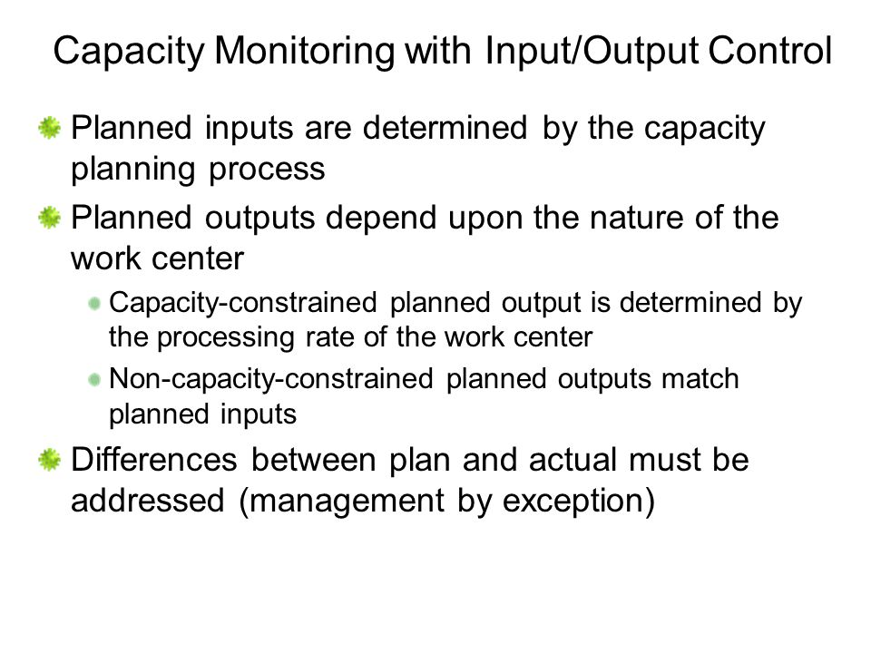 Capacity Monitoring with Input/Output Control