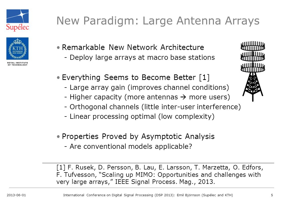 New Paradigm: Large Antenna Arrays