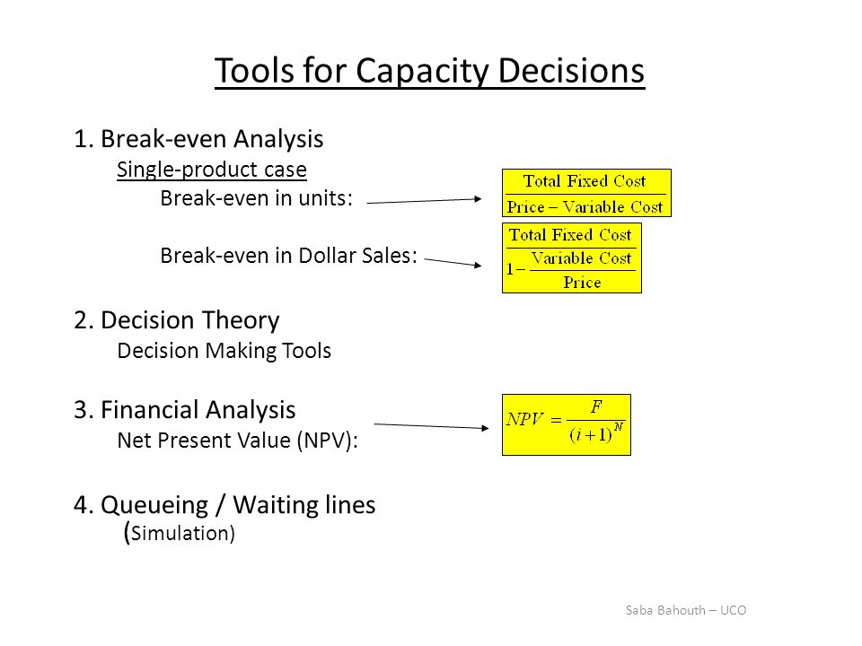 Tools for Capacity Decisions