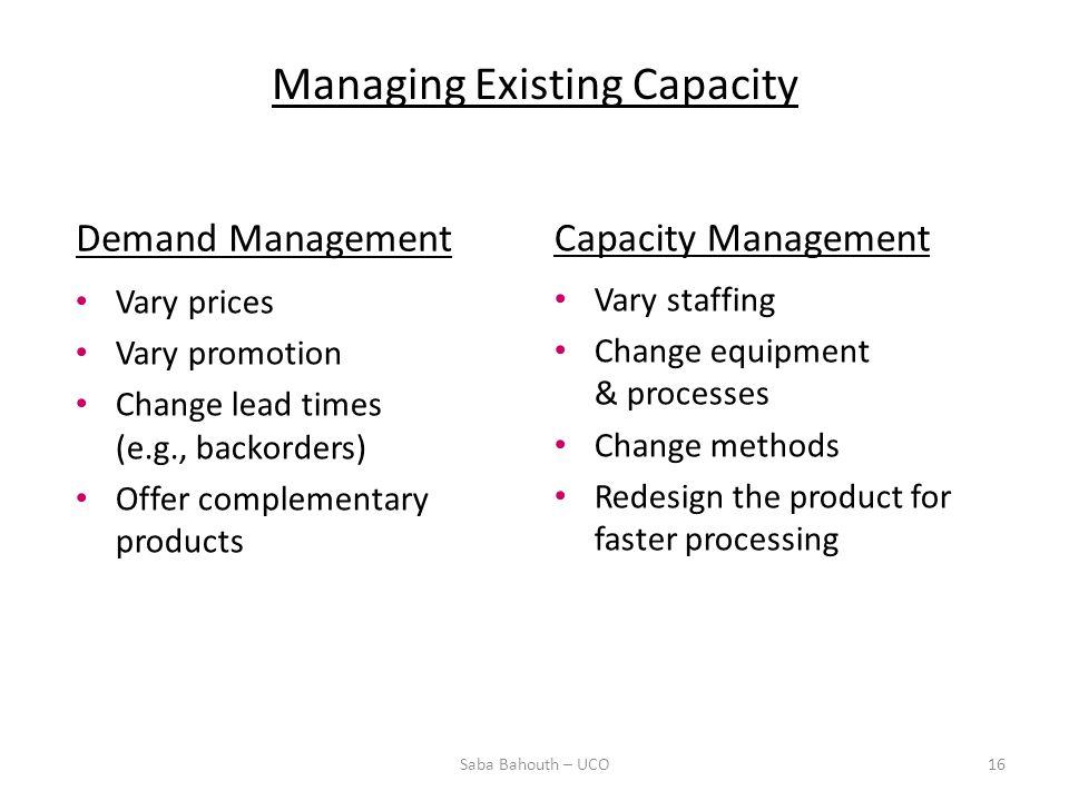 Managing Existing Capacity